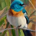 Carol Guzman, Lazuli Bunting, oil, 5 x 4.