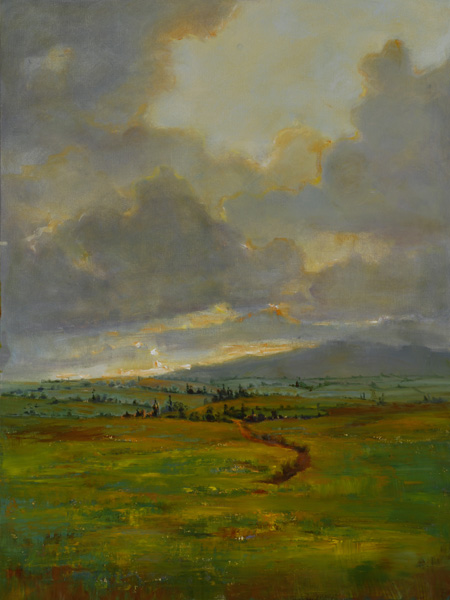 Julie Houck, Dawn Comes to Paia, oil, 36 x 24.