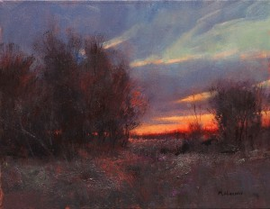 Marc Hanson, Scarlet Sunset, oil, 16 x 20.