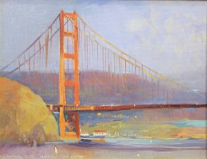 Chuck Kovacic, Happy 75th Golden Gate Bridge, oil, 14 x 18.
