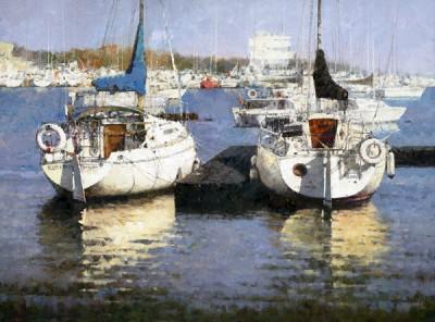 Xiao Song Jiang, Harbor of the Fall, oil, 18 x 24.