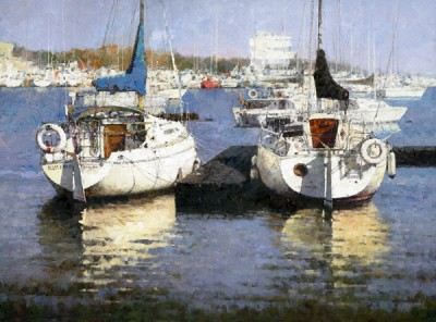 Xiao Song Jiang, Harbor of the Fall, oil, 18 x 24.