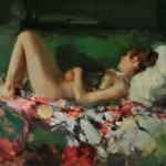 Johanna Harmon, Silk Blossom, oil, 16 x 22.
