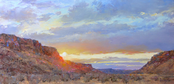 Jill Hartley, Sunrise, Canyon Creek Ranch, oil, 12 x 24.