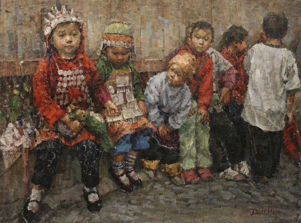 Dali Higa, Children Watching the Parade, oil, 36 x 48.