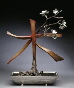 Casey Horn, Tree, bronze/stainless steel, 22 x 18 x 9.
