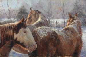 Winter Lesson, oil, 27 x 40.