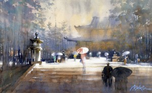 Thomas W. Schaller, Horyu-ji Temple, Nara, watercolor, 14 x 22.