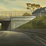 Houses by a Freeway, oil, 15 x 30.