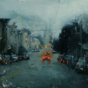 Hsin-Yao Tseng | Russian Hill in Blue, oil, 12 x 12.