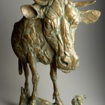 Anne Huibregtse, Cow Perspective, bronze, 40 x 28 x 10.