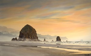 Haystack Rock Sunset, watercolor, 33 x 53.