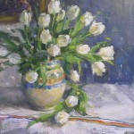 Julee Hutchison, White Tulips, oil, 16 x 15.