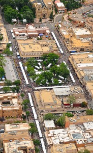 An aerial view of downtown Santa Fe during Indian Market.