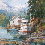 Ian Ramsey, Boat Dock, Cordova, Alaska, watercolor, 12 x 9.