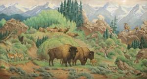 Ila McAfee, Western Panorama, oil, 43 x 79. Estimate: $8,000-$12,000.