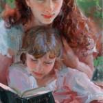 Daniel Gerhartz, In Her Sister's Arms, oil, 30 x 16.
