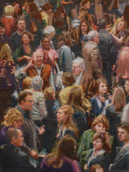 Dianne Massey-Dunbar, Intermission at the Theater, oil, 24 x 18.