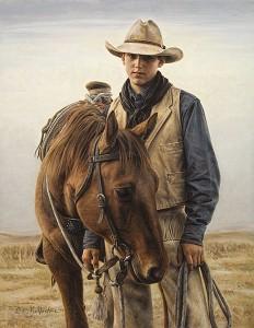 Carrie Ballantyne, Jackson Wald—Cowboy 2008, oil, 18 x 14.