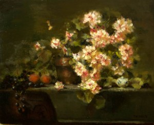 Jacqueline Kamin, Geraniums with Peaches, oil, 18 x 24.