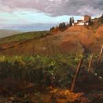 John Harrell, Tuscan Vinyard at Dusk, acrylic, 24 x 30.
