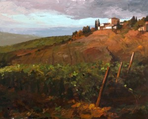 John Harrell, Tuscan Vinyard at Dusk, acrylic, 24 x 30.
