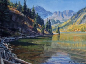 Jennifer Johnson, Autumn Maroon Bells, oil, 9 x 12.