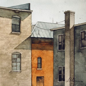 Joseph Alleman, Building Backs, watercolor, 7 x 7.
