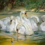 Joseph Sulkowski, Swans of Woburn Park, oil, 30 x 50.