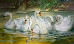Joseph Sulkowski, Swans of Woburn Park, oil, 30 x 50.