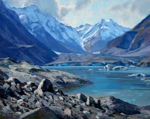 Josh Elliott, Tasman Glacier, oil, 24 x 30.