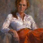 Jeff Merrill, La Pelirroja (The Redhead), oil, 18 x 14.