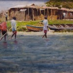 Lake Victoria Fishing Village, oil, 18 x 24.