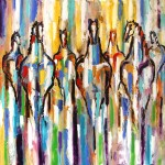 Laurie Justus, Pace the Painted Ponies Gathering at Sunrise, oil, 36 x 36.