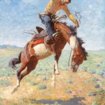William R. Leigh, Bucking Bronco with Cowboy, oil painting at the Jackson Hole Art Auction.