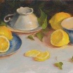 Arin Martin, Lemons and China, oil, 8 x 16.