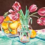 Lemons and Tulips, watercolor, 22 x 30.