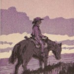 Sunset Rider, woodblock, 6 x 4.