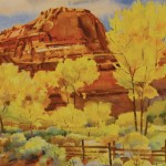 Leslie Jenson, Fall Colors on the Escalante River, watercolor landscape painting