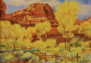 Leslie Jenson, Fall Colors on the Escalante River, watercolor, 14 x 20.
