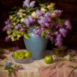 Elizabeth Robbins, Lilacs and Apples, oil, 28 x 30.