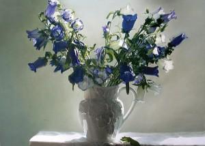 Yingshao Liu, Bluebells, oil, 24 x 32.