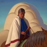Logan Maxwell Hagege, Turquoise Meditation, oil, 30 x 30.