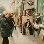 London Street Artists, oil, 23 x 27.