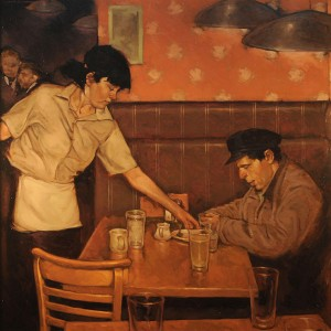 Joseph Lorusso, A Late Dinner, oil, 30 x 30.