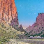 Diablo Canyon, woodblock, 8 x 8.