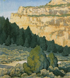Fable Valley Shadows, woodblock, 16 x 14.