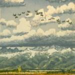 Flight of Cranes, woodblock print, 12 x 9.