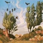 Vultures, woodblock, 8 x 8.