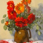 Lucinda Kasser, Gerber Daises in Brown Jug, oil, 20 x 16.